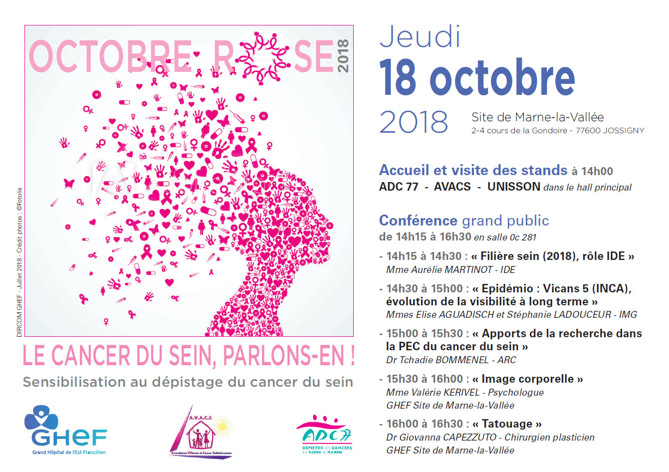 Octobre rose Marne-la-Vallée GHEF Grand Hopital de l'Est Francilien Cancer Sein