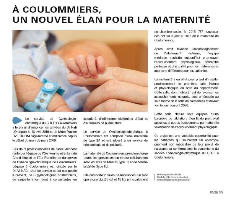 Article GHEF en Bref juin 2019 Maternite coulommiers