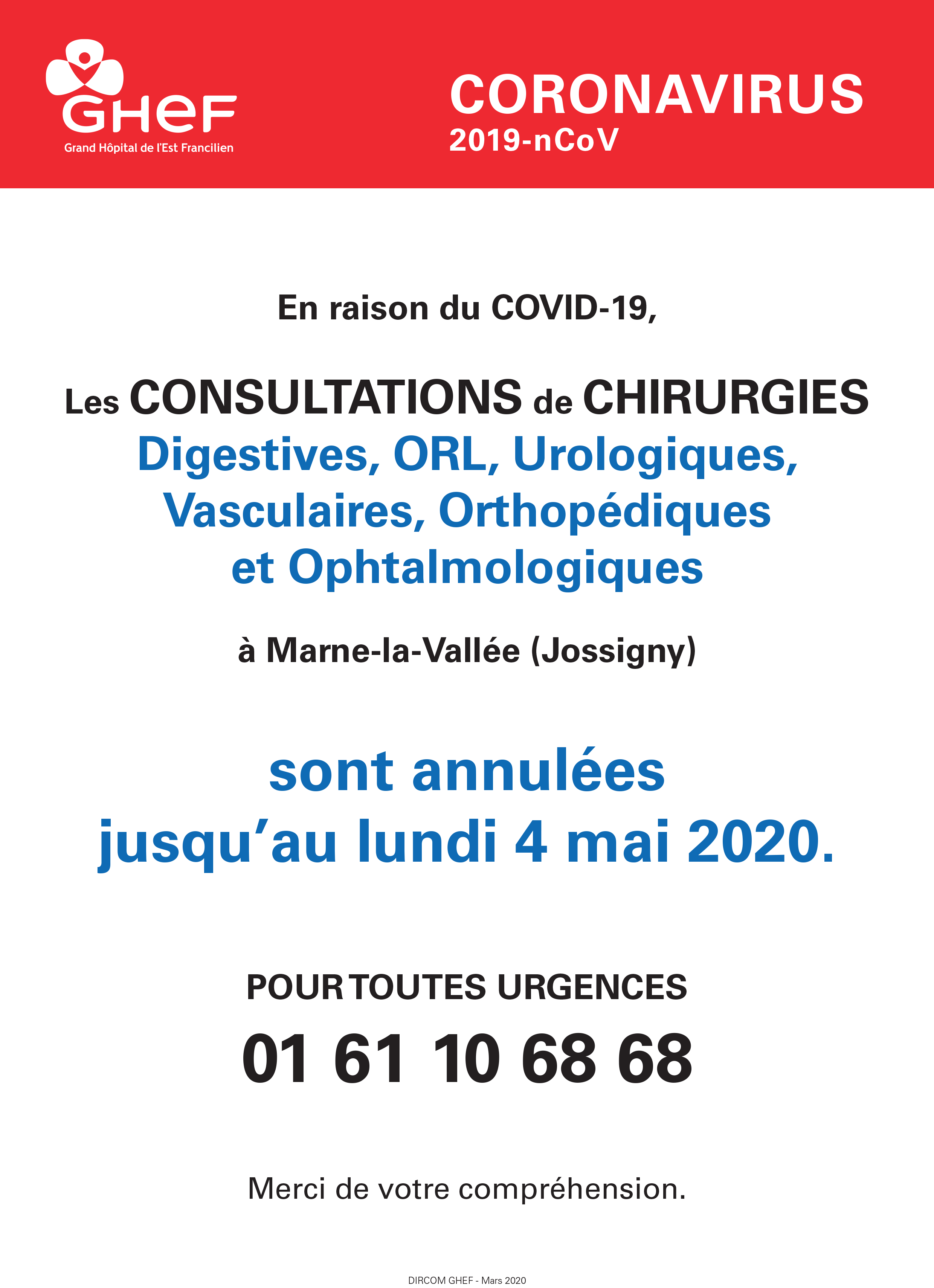 GHEF annulation Consultations Chirurgie Marne-la-Vallee