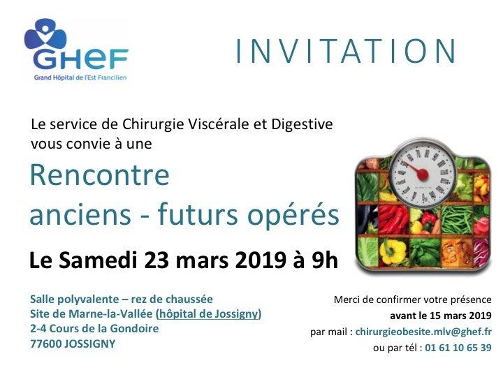 SAVE THE DATE : Rencontre anciens futurs opérés, le 23 mars 2019